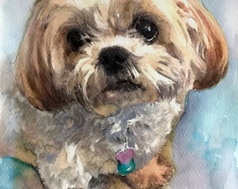 "Custom Watercolor Dog Portrait 8""x10"""
