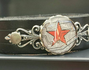 Soviet Soldier handmade black leather bracelet, geeky cosplay, Civil War #teamcap