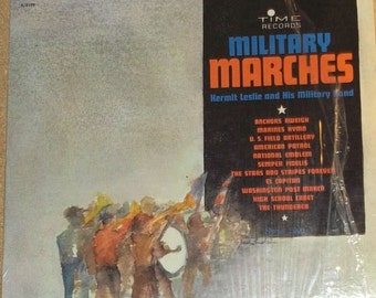 Kermit Leslie And His Military Band Military Marches Vinyl Record Album
