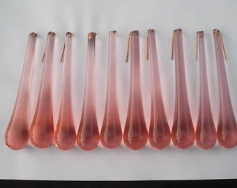 10 handmade pink  glass tear drop chandelier drop/Christmas decoration(21193)