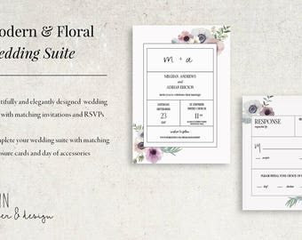 Modern & Floral Wedding Invitation Suite
