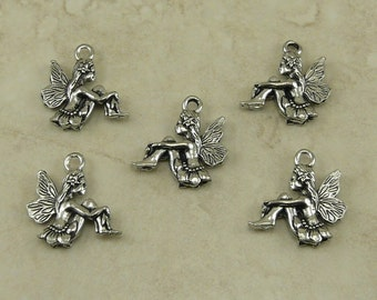 Sitting Fairy Charm > Fae Magic Pixie Fantasy Spring Forest - Unfinished American Made Lead Free Silver Pewter I ship internationally