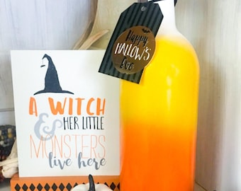 Candy Corn Ombre Wine Bottle Decor in orange,yellow, and white. Halloween and Harvest Home Decoration.