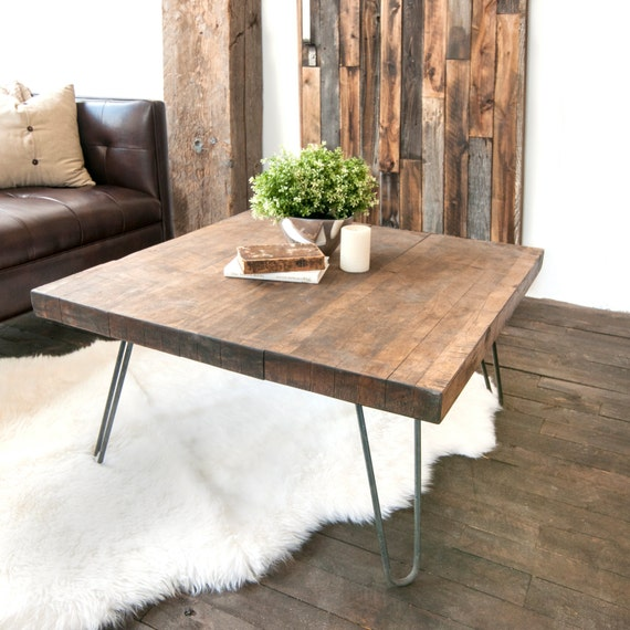 Round Wood Hairpin Coffee Table: Wooden Coffee Table Salvaged Butcher Block Barn Wood Coffee