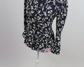 Vintage Navy White Floral Ruffle Bottom Blouse Size S/M