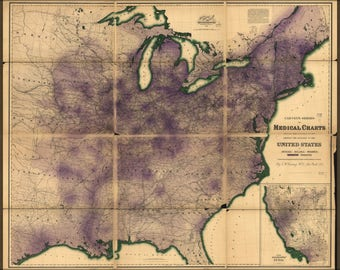 Poster, Many Sizes Available; Map Of Rheumatism In United States Of America 1874