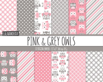 Pink Owl Digital Paper Pack. Cute Owl Patterns with Pink and Grey Backgrounds. Digital Scrapbook