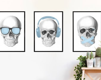 Skull Triptych - See No Evil, Hear No Evil, Speak No Evil
