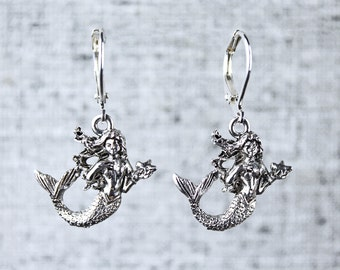 Mermaid Earrings with Sterling Silver Leverback Hooks