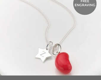 Personalised Raspberry Jelly Bean Star Necklace