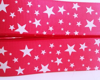 """Bold Pink with White Mixed Stars Grosgrain Ribbon 1"""" Wide Scrapbooking HairBows Parties DIY Projects az526"""