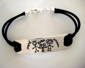 Silver family bracelet