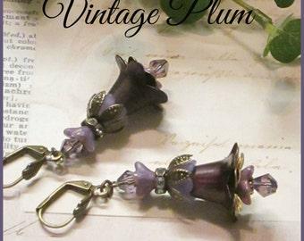 VINTAGE PLUM, Lucite Lily Flower Earrings Hand Painted, Purple, Victorian Earrings, Bridesmaid Earrings, Czech Crystals, Handmade, Ravengirl