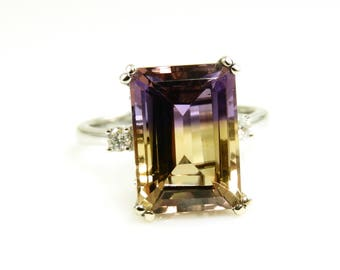 8.73 Carat Ametrine And Diamond Ring In 14k White Gold, Bicolored Quartz, Anniversary/Engagement Ring, Birthday Gift, Cocktail Ring (145081)