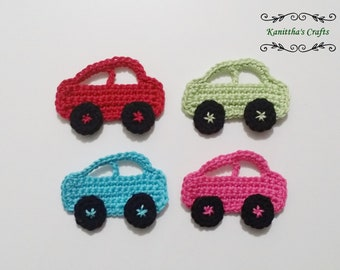 Crochet car applique large,Embellishments,Crochet motifs,Baby blanket accessories,Sewing accessories,Scrapbook making,Cards making,