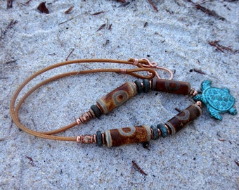 Island Traders Lore of the Sea Turtle Tibetan Agate and Copper Necklace