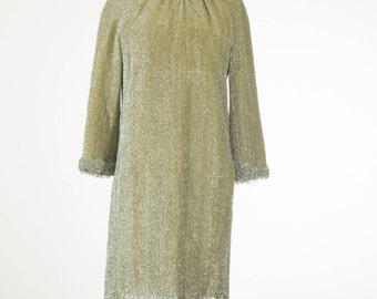 1960's All the diamonds // Beaded Lurex Dress