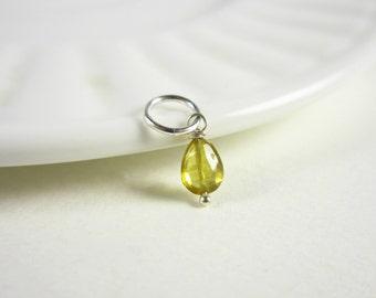 Tiny Yellow Tourmaline Jewelry - Born in October Birthstone Charms - Watermelon Tourmaline Stone Jewelry - Natural Tourmaline Pendant