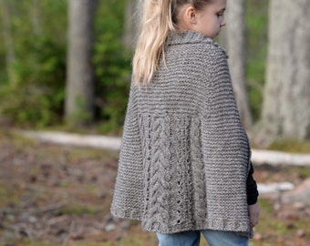 KNITTING PATTERN-The Cheviot Cape Coat 3/4, 5/7, 8/10, 11/13, 14/16, sm, med, large, xlarge, xxlarge, 3xlarge, 4xlarge