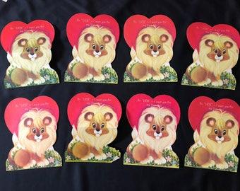 1970s Lion Valentines- Set of 8