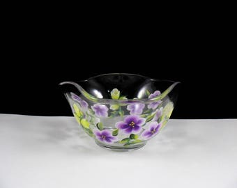 Dip Bowl Hand Painted Glass Flowers Purple Yellow