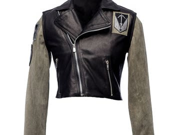 Military X Cropped Leather Biker Jacket