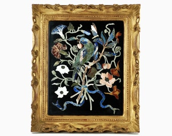 Vintage Italian Florentine Pietra Dura Plaque with Parrot and Floral Motif in Carved Gilt Frame