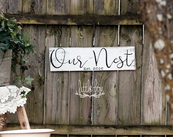 Farmhouse Decor / Established Sign / Our Nest / Farmhouse Sign / Farmhouse /