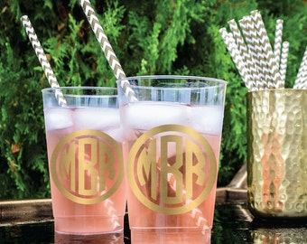 Custom Plastic Party Cups, Personalized Wedding Cups, Monogram Cups, Printed Party Cups