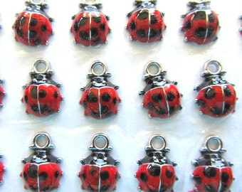 5 Enamel Red and Black Ladybug Charm Pendants