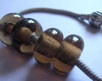 Lampwork Beads Brown Handmade Glass Ericabeads Brown BHB European Charm Beads (4)