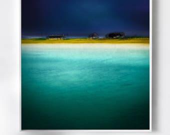 Blue Abstract Art, Photography, minimalism, large blue canvas, modern, home decor, wall art, livingroom decor, living room, blue, yellow