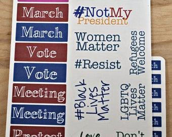 Resistance Stickers for Bullet Journal, Erin Condren, etc