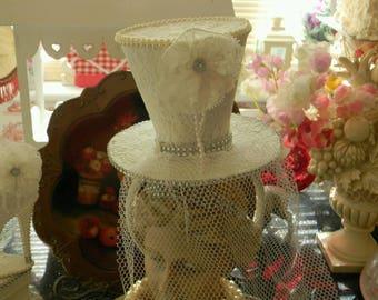 Stunning Ooak White Lace Top Hat Fascinator