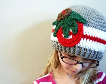 Ohio State Buckeyes Hat, crochet OSU hat, Adult Buckeyes hat, mens OSU hat, womens OSU hat, unisex adult crochet hat