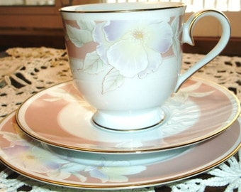 Noritake Spring Rhapsody Trio Tea Cup And Saucer Set With Dessert Plate Adorned With Orchids