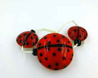 Handmade Italian glass lady bug beads
