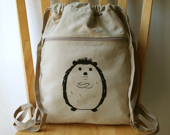 Disgruntled Hedgehog Backpack Laptop Bag Canvas Book Bag