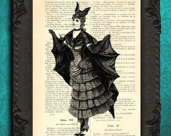 batgirl print halloween batgirl art print victorian bat girl print