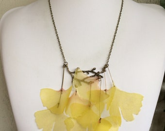 Ginkgo Tree - Handmade Silk Organza Yellow Leaves on Branch Necklace, Boho Necklace, Statement Necklace, Nature Necklace, One of a Kind