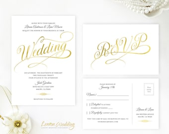Gold calligraphy wedding invitations and rsvp postcards | Affordable wedding invitations | Printed wedding invitation suite