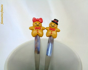 Set of 2 spoons in stainless steel Couple polymer clay gingerbread polymer clay - handmade