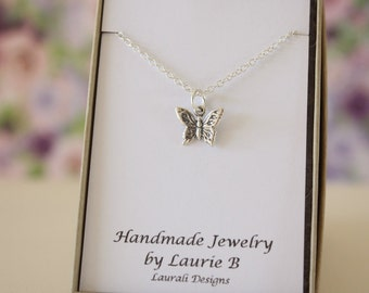 Butterfly Charm Necklace, Friendship Gift, Sterling Silver, Bestie Gift, Silver Butterfly, Thank you card, Nature,Butterfly Wings