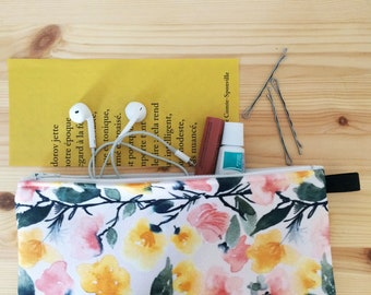 Floral pencil case, gift for her, under 20, watercolor art, floral art, makeup bag, romantic style, slim pouch, under 30,  pouch with zipper
