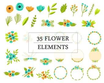 35 Flower Elements | Floral Clip Art
