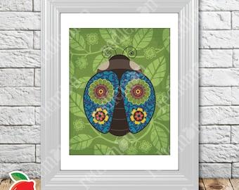 Secret Garden Blue Ladybug Nursery Print