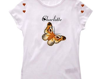 Girl Butterfly personalized with name Tiger t-shirt