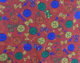 Fabric Country Vintage Fabric buttons and bows from 1996 red multicolor  1 Yard by 44 inches wide new.