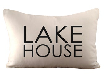 Lake House - Cushion Cover - 12x18 - Choose your fabric and font colour