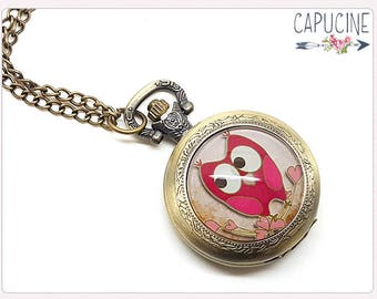 Pink Owl Pocket Watch Necklace - Necklace watch bronze - Glass dome owl